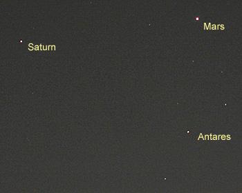 火星、土星、アンタレス 2016.04.01 01:10 静岡市葵区平野部 南の空