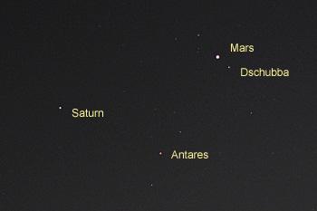 火星、土星、アンタレス 2016.05.18 22:57 静岡市葵区平野部 南南東の空
