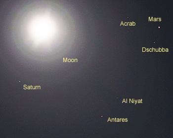 月齢15.8の月、火星、土星。アンタレス 2016.05.22 22:27 静岡市葵区平野部 南南東の空