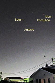 火星、土星、アンタレス 2016.05.31 21:56 静岡市葵区平野部 南南東の空