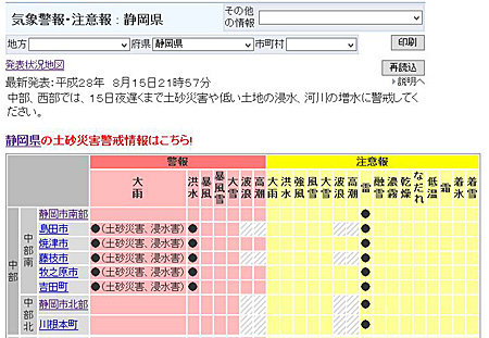 気象警報・注意報 静岡県 2016.08.15 21:57発表/氏省庁