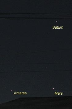 アンタレス、火星、土星 2016.08.19 21:56 静岡市葵区平野部 南西の空