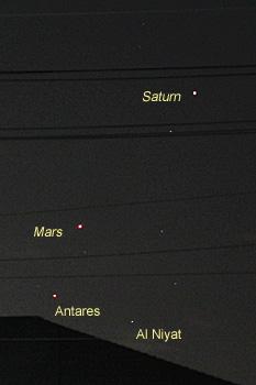 土星、火星、アンタレス 2016.08.25 21:45 静岡市葵区平野部 南西の空