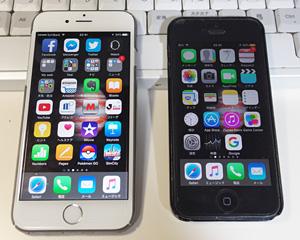 iPhone 6S(左)とiPhone 5