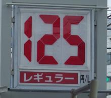 静岡のあるガソリンスタンドの2016.09.18のレギュラーガソリンの表示価格