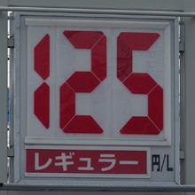 静岡のあるガソリンスタンドの2016.10.09のレギュラーガソリンの表示価格