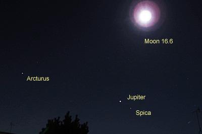 月(月齢 16.6)、木星、アルクトゥールス、スピカ 2016.02.13 23:28 静岡市葵区平野部 東の空