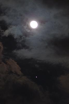 月 月齢 15.9と木星 2017.03.14 21:59 静岡市葵区平野部 東南東の空