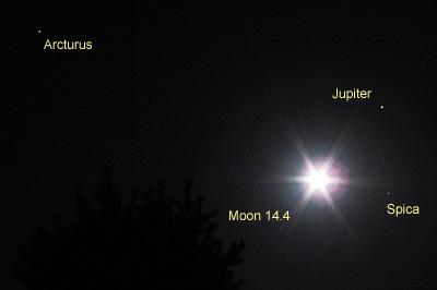 月(月齢 14.4)、木星、スピカ、アルクトゥールス 2017.04.11 22:01 静岡市葵区平野部 南南東の空