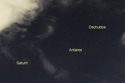 土星とアンタレス 2017.06.12 21:43 静岡市葵区平野部  南南東の空