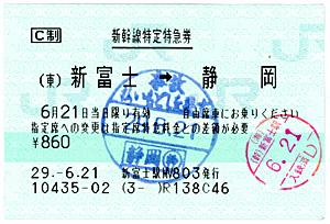 払い戻しスタンプが押された新幹線自由席特急券