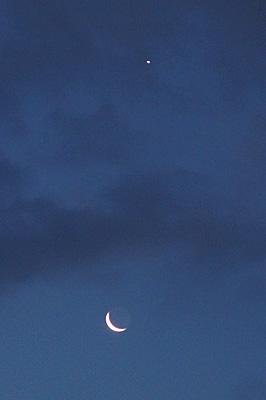 月齢26.7の月と金星 2017.7.21 4:16 静岡市葵区平野部 東の空