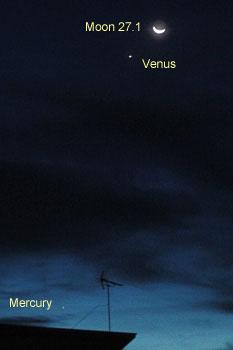 月(月齢 27.1)と金星、水星 2018.09.18 4:55 静岡市葵区平野部 東の空