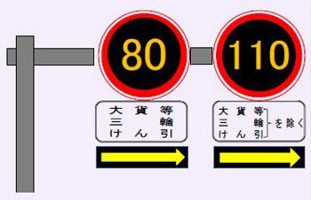 試行区間の速度標識 ※ 静岡県警察本部のパンフレットから画像引用