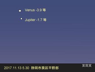 金星と木星 17.11.13 5:30 静岡市葵区平野部 東の空