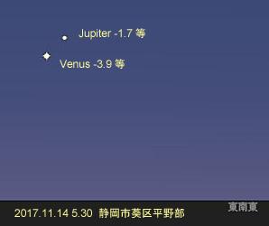 金星と木星 17.11.14 5:30 静岡市葵区平野部 東の空