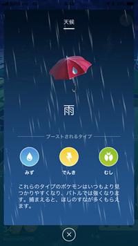 Pokémon GOの「雨」の表示 ※ Pokémon GOから画像引用