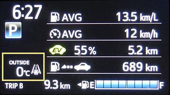 クルマの車外温度計