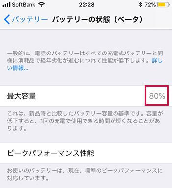 iOS 11.3のiPhone 6 [設定]→[バッテリー]→[バッテリーの状態(ベータ)]の画面