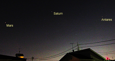 火星、土星、アンタレス 2018.05.27 1:35 静岡市葵区平野部 南の空