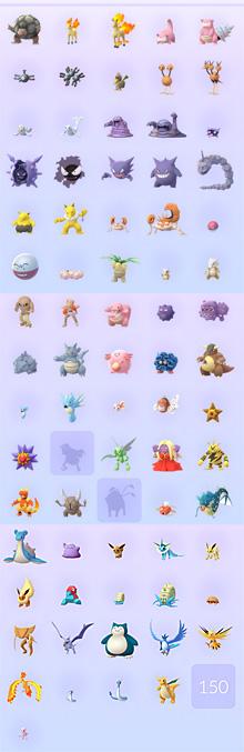 これまでにゲットできたポケモン ※  Pokémon GO!から画像引用