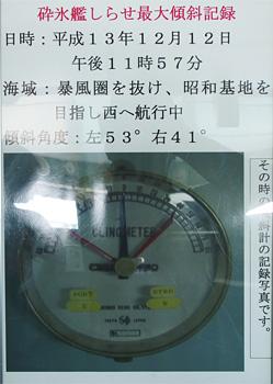 砕氷艦「しらせ」最大傾斜記録