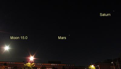 月(月齢 15.0)+火星+土星 2018.08.26 19:30 静岡市葵区平野部 南の空