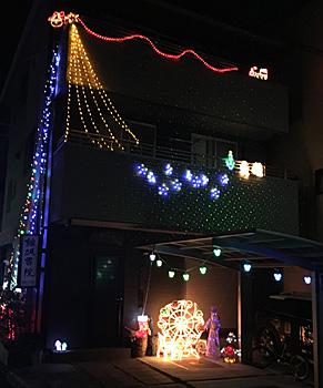 最近少なくなった住宅街のクリスマスイルミネーション
