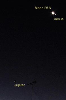 月齢 25.6の月と金星、木星 2019.01.02 6:09 静岡市葵区平野部 南東の空
