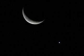 月齢 25.6の月と金星 2019.01.02 5:32 静岡市葵区平野部 南東の空