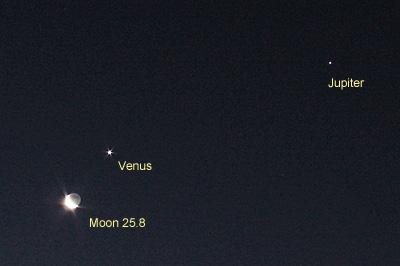 月 月齢 25.8と金星、木星 2019.02.01 6:03 静岡市葵区平野部 南東の空