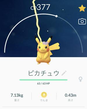 025 花飾りのピカチュウ ※ Pokémon GOから画像引用