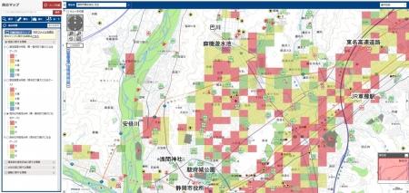 静岡市防災マップ 葵区平野部/静岡市 施設名等は筆者加筆 クリックすると別ウインドウで拡大表示ができます。