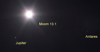 月齢 13.1の月、木星、アンタレス 2019.06.16 21:03 静岡市葵区平野部 南東の空