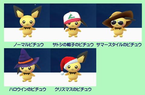 これまでにゲットしたピチュウ ※ Pokémon GO から画像引用